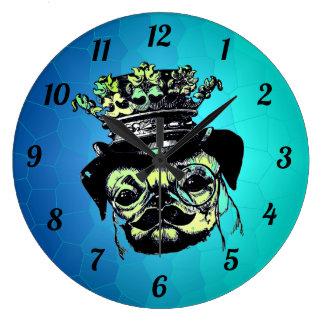 Elegant Puppy Pog Dog - Aqua Graphic Illustration Large Clock