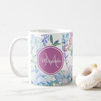 Elegant Purple and Blue Succulent Floral With Name Coffee Mug