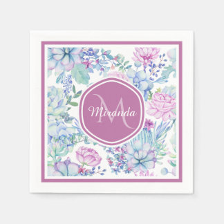 Elegant Purple and Blue Succulent Floral With Name Disposable Serviettes