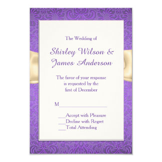 Elegant Purple and Cream Wedding RSVP Cards
