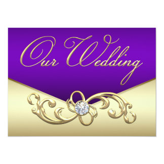 Elegant Purple and Gold Wedding Card