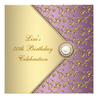 Elegant Purple and Gold Womans 50th Birthday Party Personalized Invites