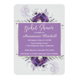 Elegant Purple and Grey Floral Bridal Shower Card