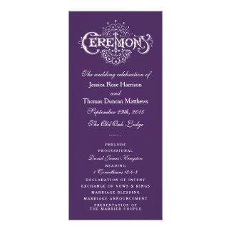 Elegant Purple And White Wedding Ceremony Programs Personalized Rack Card