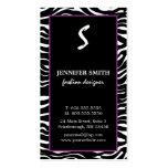 Elegant Purple and Zebra Monogram Business Cards
