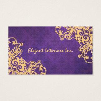Elegant Purple Baroque Damask Renaissance Grunge Business Card