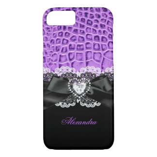 Elegant Purple Black Animal Bow Heart Lace 2 iPhone 8/7 Case