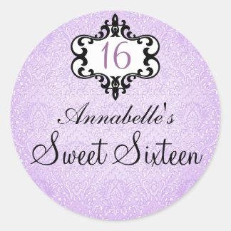 Elegant purple & Black Chic Damask Sweet16 Sticker