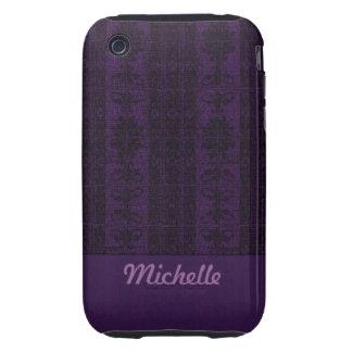 Elegant purple black Damask iPhone 3 Tough Cover