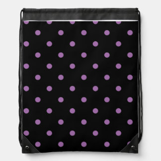 elegant purple black polka dots drawstring bag