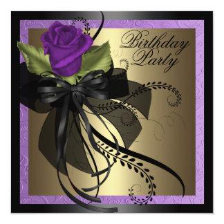 Elegant Purple & Black Rose Birthday Invitation