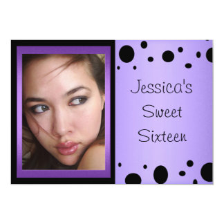 Elegant Purple Black Spots Photo Sweet 16 13 Cm X 18 Cm Invitation Card