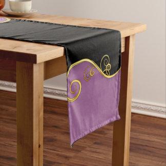 Elegant Purple-Black Table Runner