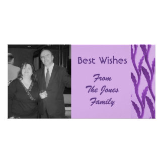 elegant purple branches customized photo card