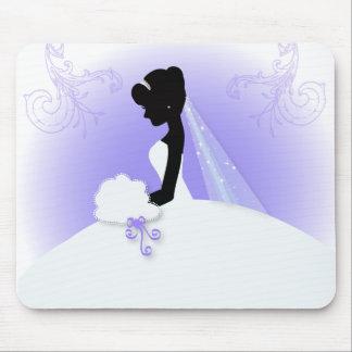 Elegant Purple  bride silhouette Bridal Shower Mouse Pads