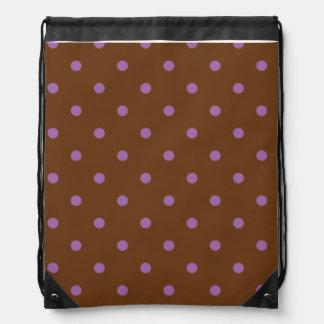 elegant purple brown polka dots drawstring bag