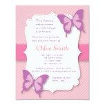 Elegant Purple butterfly baby shower 11 Cm X 14 Cm Invitation Card