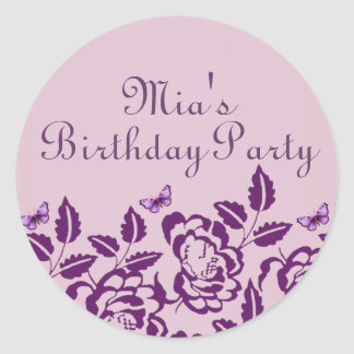 Elegant Purple Butterfly Birthday Envelope Sticker