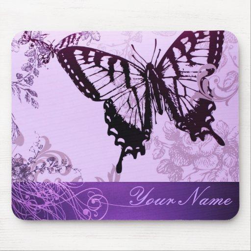 Elegant Purple Butterfly Wedding Shower Mouse Pad
