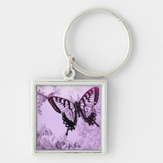 Elegant Purple Butterfly Wedding Shower Silver-Colored Square Key Ring
