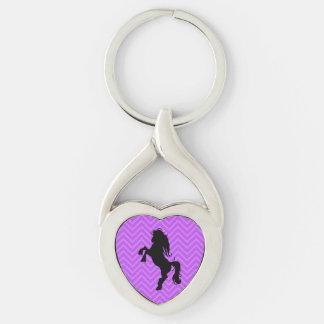 Elegant Purple Chevron Heart Horse Keychain