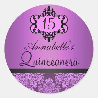Elegant Purple Chic Damask Quinceanera Sticker