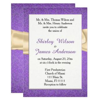 Elegant Purple & Cream Wedding Invitation