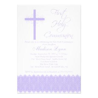 Elegant Purple Cross First Holy Communion Invites