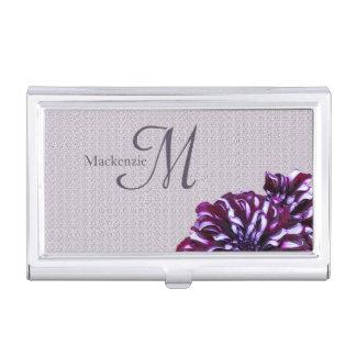 Elegant purple dahlia flowers monogram custom name business card holder