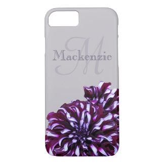 Elegant purple dahlia flowers monogram custom name iPhone 8/7 case
