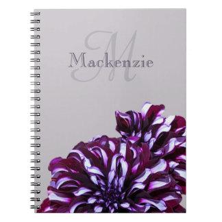Elegant purple dahlia flowers monogram custom name notebook