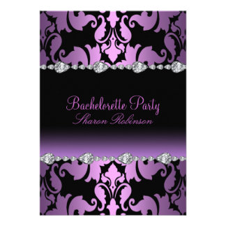 Elegant Purple Damask Bachelorette Invite