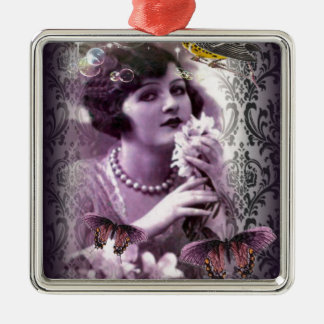 elegant purple damask butterfly paris Vintage Lady Silver-Colored Square Decoration