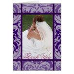Elegant Purple Damask Floral Bride Thank You Card