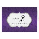 Elegant Purple Damask Reception Table Number