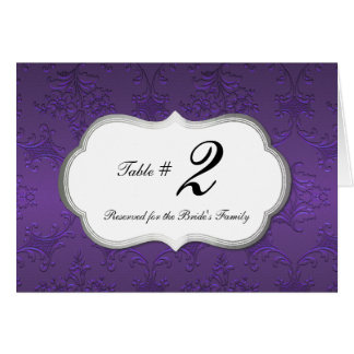 Elegant Purple Damask Reception Table Number Card