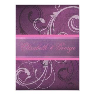 Elegant Purple Damask Swirls Grunge Effect Card
