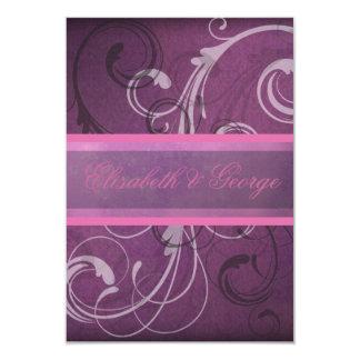 Elegant Purple Damask Swirls RSVP Response Cards