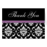 Elegant Purple Damask Wedding Thank You Notes Cards
