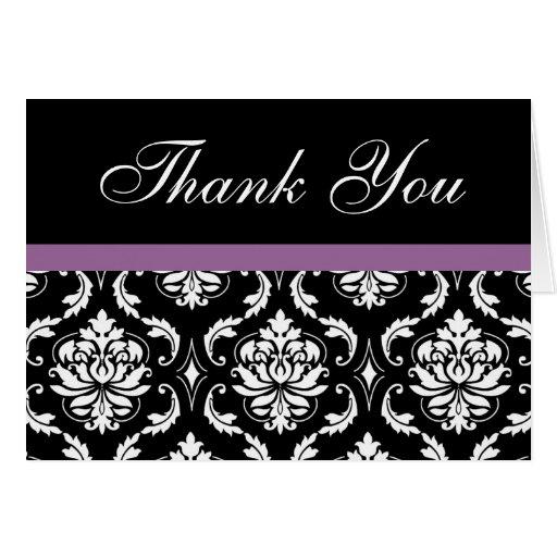 Elegant Purple Damask Wedding Thank You Notes Stationery Note Card