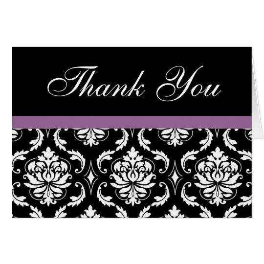 Elegant Purple Damask Wedding Thank You Notes Note Card
