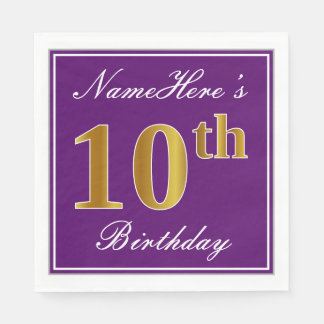 Elegant Purple, Faux Gold 10th Birthday + Name Paper Napkins