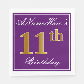 Elegant Purple, Faux Gold 11th Birthday + Name Paper Serviettes