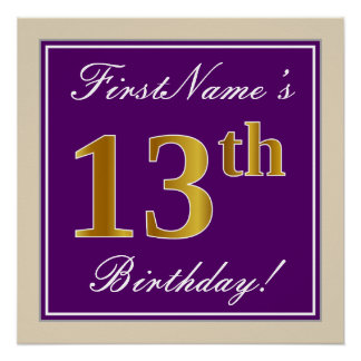 Elegant, Purple, Faux Gold 13th Birthday + Name Poster