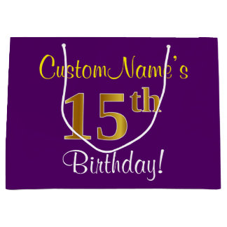 Elegant, Purple, Faux Gold 15th Birthday + Name Large Gift Bag
