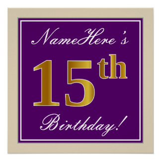 Elegant, Purple, Faux Gold 15th Birthday + Name Poster