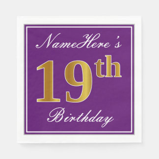 Elegant Purple, Faux Gold 19th Birthday + Name Paper Serviettes