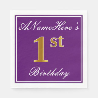 Elegant Purple, Faux Gold 1st Birthday + Name Disposable Napkins