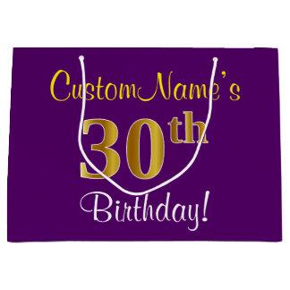 Elegant, Purple, Faux Gold 30th Birthday + Name Large Gift Bag