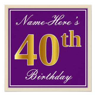 Elegant, Purple, Faux Gold 40th Birthday + Name Card